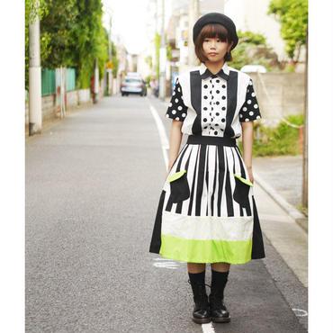 お手伝いスカート~ストライプ×黄緑~