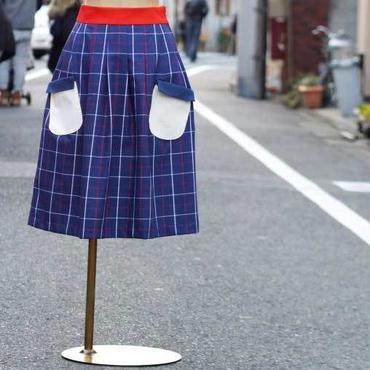 お手伝いスカート ネイビー×チェック