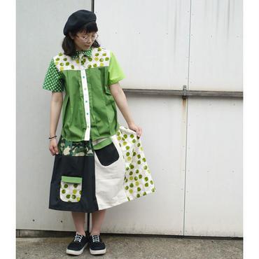 お手伝いスカート ~迷彩×緑ドット~