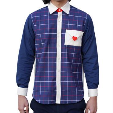 【こども服】ラブレターシャツ ネイビーチェック