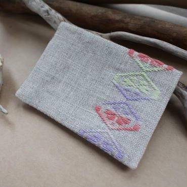 菱刺し名刺入れ・梅の花(ピンク×紫×黄緑)