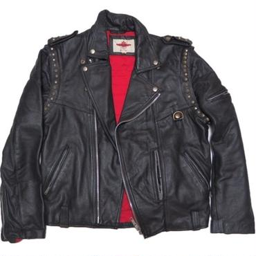 1980's  鋲カスタム ライダース(小の字ZIP ロンジャン 袖脱着 )表記(XL)