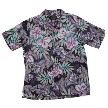 1980's〜90's  RESERVE アロハシャツ  黒ピン    DEAD?? 表記Lサイズ