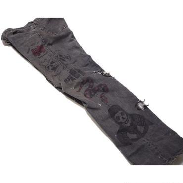 1990's USA製501黒ボディ  ハンドペイントパンツ(ヘンリーロリンズ刺青デザイン)