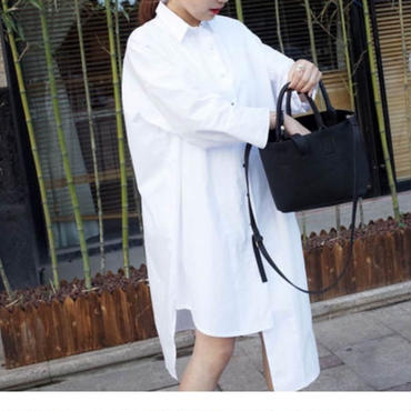 <即納>White asymmetry long shirt