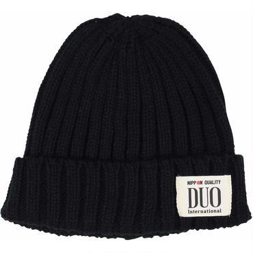 DUOネームタグ ニット帽 ブラック