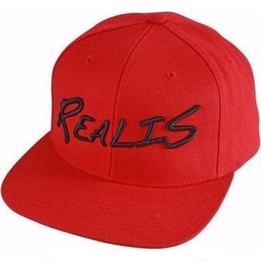 REALIS ロゴ刺繍キャップ 赤