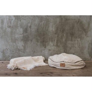 "Organic Cotton ""Garabou""×Hemp Bed Cushion  Blue"