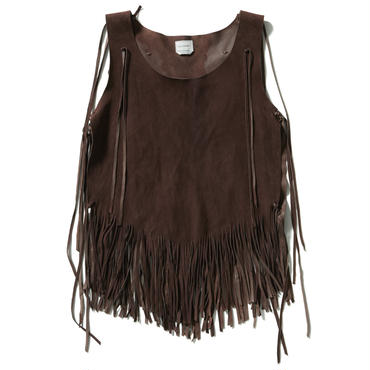 SHEEP LEATHER FRINGE VEST【WOMENS】