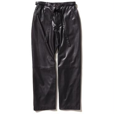 SYNTHETIC LEATHER WIDE PANTS