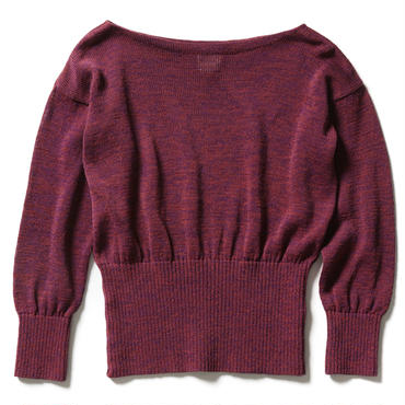 COTTON STRAW YARN BOAT NECK SWEATER 【WOMENS】