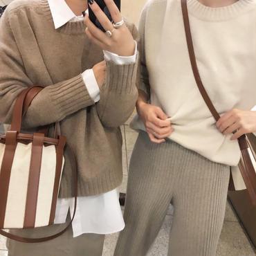 woolカシミアクルーニット【1月上旬より順次発送】