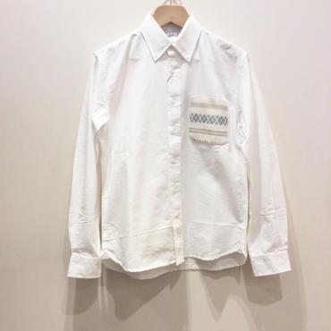 博多織ポケットシャツ white