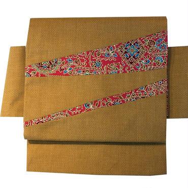 【京・木棉 乙】オリジナルリバーシブル作り帯 切り嵌め キャメル 花柄 古布