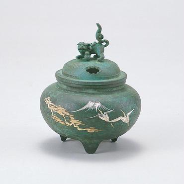 056-05 香炉 鉄鉢型獅子蓋(鶴彫金)