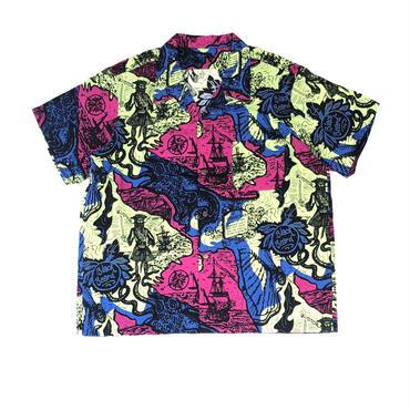 THREE FACE / teach hawaiian shirts  (green)
