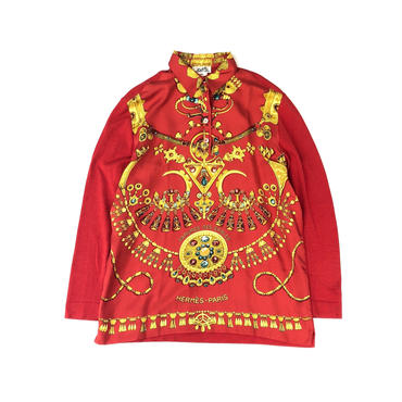 HERMES / Silk Scarf Pattern L/S Polo Shirt (red) (spice)