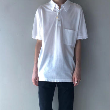 "HERMES /  ""H"" S/S Polo Shirt  (white) (spice)"