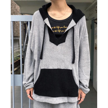 """tr.4 suspension / """"El Chapo"""" pile pull over hooded   (gray×black)"""