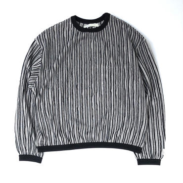 R.M GANG / RIPPLE STRIPE CREW NECK SWEAT (black)