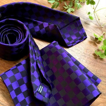 Oguri Original ネクタイ&ポケットチーフ 市松模様 パープル×ブラック