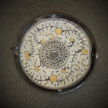 印花文金彩片口小皿《S皿1ig1-1~2》