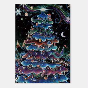 ポストカード 特別急行列車 クリスマス号 封筒付き