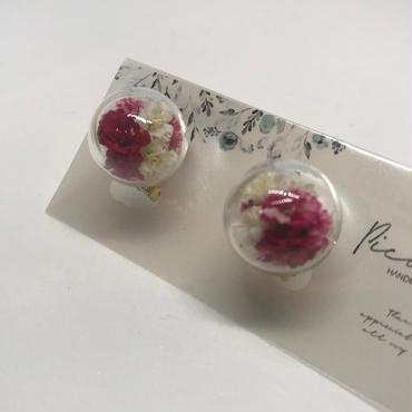 【picabuu】イヤリング/ガラスドーム(かすみ草)③