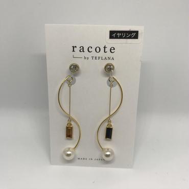 【racote】イヤリング/ゆる巻きイヤリング/オレンジ×ブラック