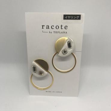 【racote】イヤリング/ビジューフープイヤリング・ホワイト