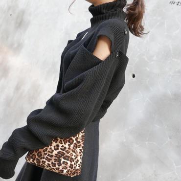 【即納】リブタートルネック2way knit