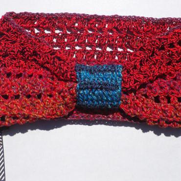 【SALE】20%OFF レッド透かし編みかぎ針ターバン