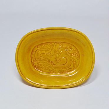 民平焼 小判型龍文豆皿