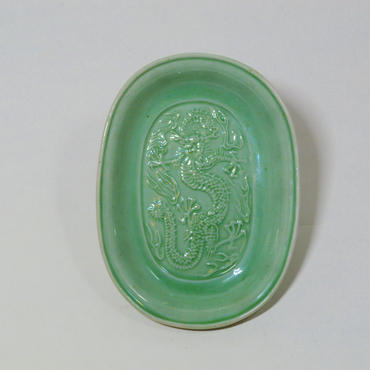 民平焼緑釉小判型豆皿