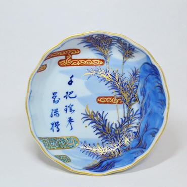 金彩月竹図なます皿