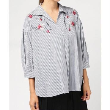 綿ローン刺繍スキッパーシャツ 10183015