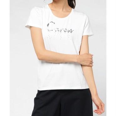 箔プリントスパンコール刺繍Tシャツ 10133007