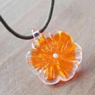 【ガラス工房Lamb】09NewフラワーP オレンジ色 L4-0213