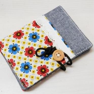 【ああ】カードケース 青と赤の花 P17-1209