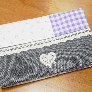 【ああ】通帳ポーチ 紫小花×紫チェック P17-1109