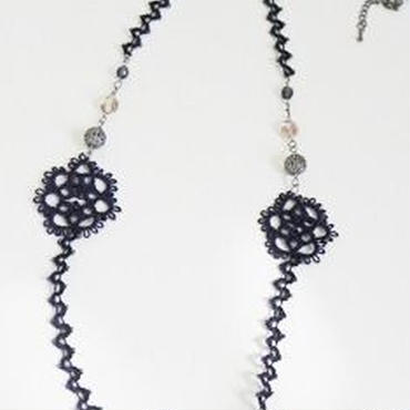 【regal】黒&紺シルク糸ネックレス F4-0028