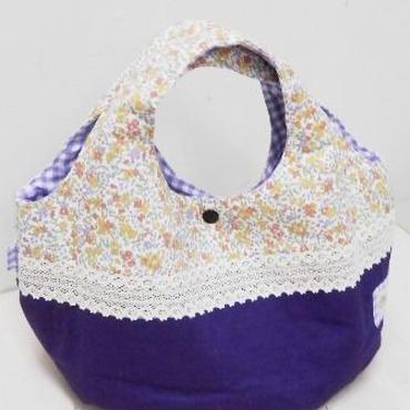 【ああ】丸型bag 紫×小花 P17-1065