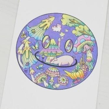 【PoPun.P】ポストカードスマイル青 48-0114