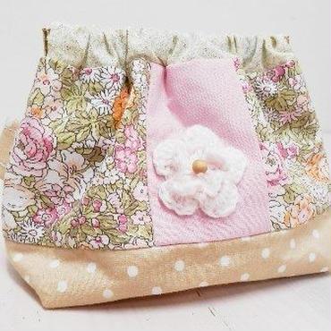 【ああ】バネポーチ ピンクオレンジ×ピンク花 P17-1103