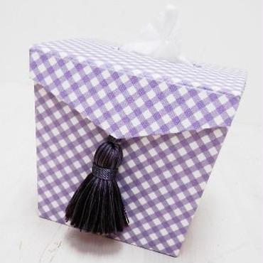 【M'sクラフト】MティッシュBOX 紫チェック O2-0046