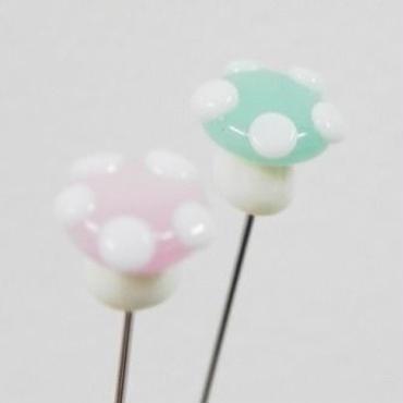 【gemma】まち針2本セット ミントきのこ&ピンクきのこ L13-1305
