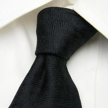 【ムッシュニコル】織柄が綺麗なブラックネクタイ【ブラック黒系】【USED】201600623-002