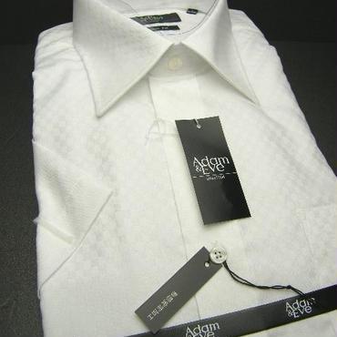 送料200円同梱OK【新品/半袖】アダム&イヴ  形態安定 シャドー格子柄ホワイト(白)半袖Yワイシャツ (LL:襟周り43cm)|ワイシャツ|2200000426710