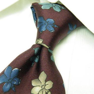 ヴィンテージネクタイ特集|アメリカ製|GIVENCHY(ジバンシイ) 花柄 ネクタイ|エンジパープル系|USED|