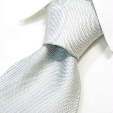 【VOLVO for life】企業物 ボルボ  ロゴ刺繍入りネクタイ シルク100% 【USED】【シルバー系】